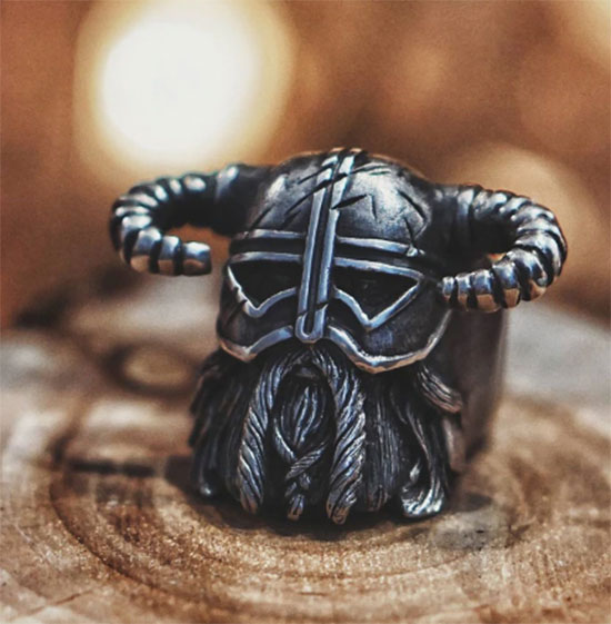 Bague chevaliere chef viking